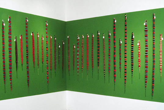 Photo: Coral Snake Series 2006 68 different textile interpreting every single species of Coral Snake. Source material: Venomous Reptiles of the Western Hemisphere, 2 vol set by Jonathan A. Campbell & William W. Lamar, pub by Cornell University Press. Hand Knit: Yarn, T-pins. (C)Ruth Marshall, 2006.