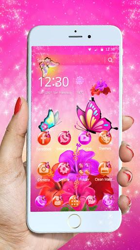 pink butterfly flower theme screenshot 1