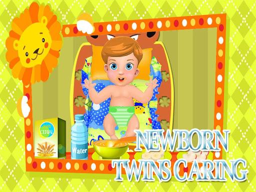 Newborn twins caring