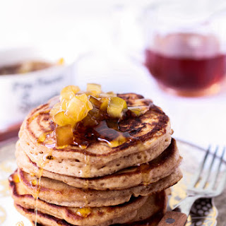Spiced Buttermilk Pancakes With Apple Maple Syrup