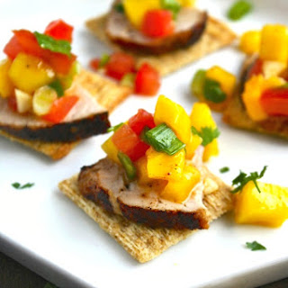 Pork Tenderloin Bites with Mango Salsa