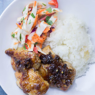 Sticky Thai Coconut Chicken Skillet with Asian Slaw.