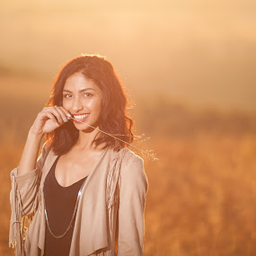 Sunset Woman by Shayne Janks Nicolas - People Portraits of Women ( field, freedom, grass, sunset, south africa, happiness, smile, africa )
