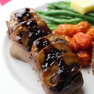 Grilled NY Strip with Sautéed Mushrooms & Cabernet-Balsamic Reduction