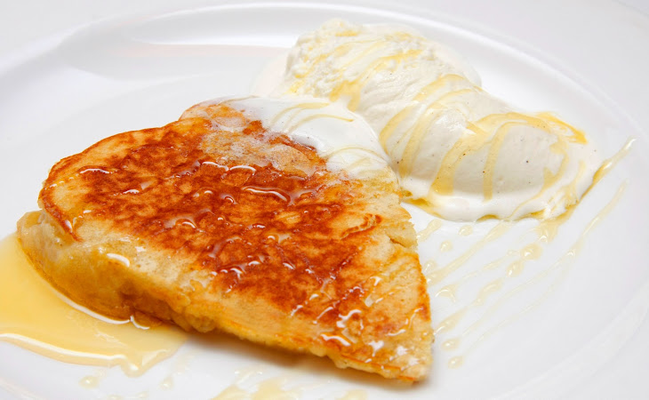 Apple Pancakes with Ice Cream and Honey Recipe