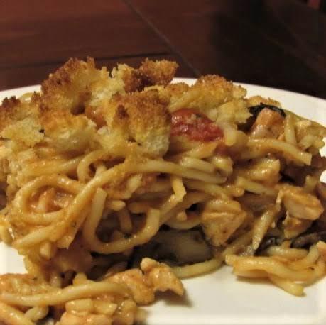 Scalloped Chicken Spaghetti Casserole