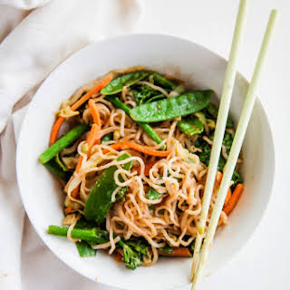 Shirataki Noodles with Almond Butter Sauce (Vegan + Paleo).