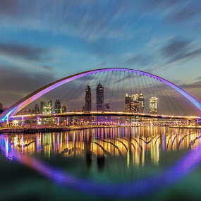 Dubai Water Canal by Wissam Chehade - Buildings & Architecture Bridges & Suspended Structures ( canon, dynamic, water, clouds, skyline, mydubai, colorful, blue hour, beautiful, reflections, cityscape, city, bujr khalifa, sky, dubai, uae, dramatic, long exposure, sunrise, bridges,  )
