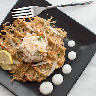 Potato Waffles with Saffron-Crab Topping