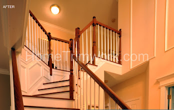 Photo: (After) Front stairs Cherry wood steps Brazilian Cherry floors Miller's Horsham, PA