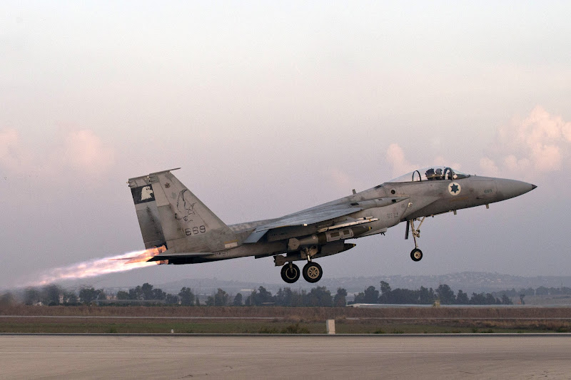 Photo: An Israeli F-15 Eagle fighter jet takes off from a Israeli Air Force Base.