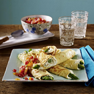 Asparagus Crepes with Tomato Salsa