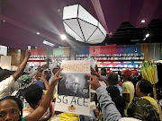 Protesters storm the book launch of 'Gangster State' at Exclusive Books in Sandton, in defence of ANC Secretary General Ace Magashule.