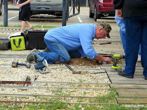 Photo: Ken Smith installing the switch throw mechanism for the center tracks in the engine barn.     HALS Chili Fest Meet 2014-0301 RPW    10:38 AM