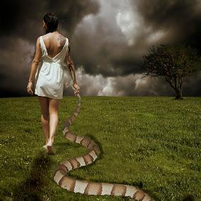 Leaving Eden by Cosmin Lita - Digital Art People ( fantasy, snake, girl,  )