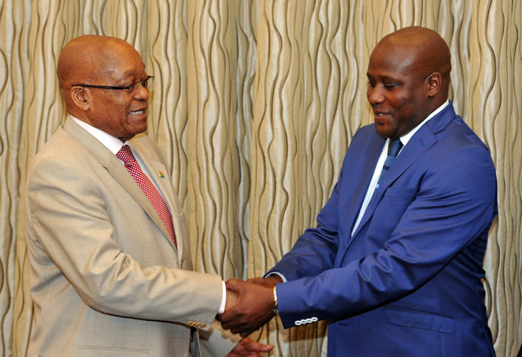 President Jacob Zuma congratulates Bongani Bongo after he was sworn in as State Security Minister on 18 October 2017.