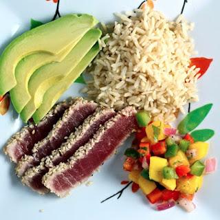 Avocado Tuna Rice Bowl & Mango Salsa