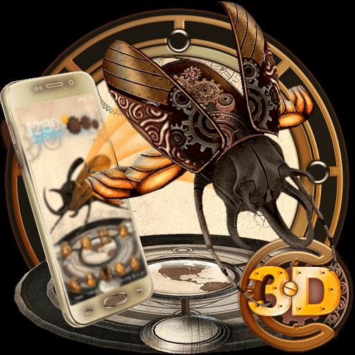 3D Steampunk Tech Beetle Theme (app)
