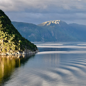 Norway Fjords  by Nelida Dot - Landscapes Waterscapes ( fjord, mountain, green, reflection, sunset, norway, sea )