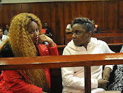 Gqom artist Bongekile Simelane known as Babes Wodumo and singer Thobeka 'Tipcee' Ndaba during the two's appearance at the Durban Magistrate Court for failing to appear on Friday April 08 2019 .
