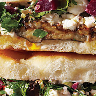Roasted Eggplant and Pickled Beet Sandwiches.