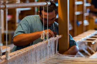 Photo: Working on a loom at Tierra Wools, Los Ojos