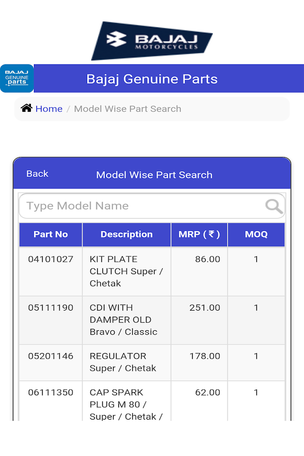 Bajaj Genuine Parts - Android Apps on Google Play