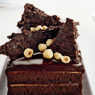 Chocolate Hazelnut Cake with Praline Chocolate Crunch.