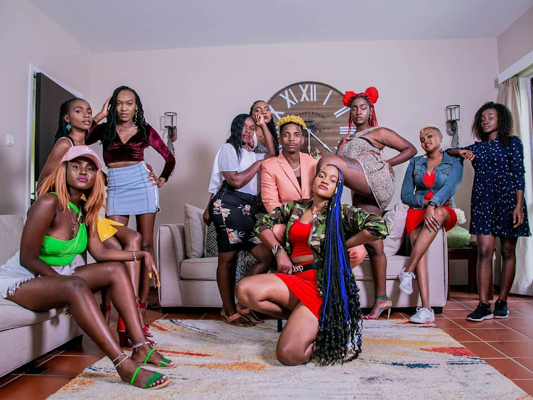 Comedian Eric Omondi with constestants of Wife Material Season 1.