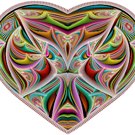 Julian Disc Heart 2 by Peggi Wolfe - Illustration Abstract & Patterns ( digital, gift, color, wolfepaw, jwildfire, bright, pattern, abstract, décor, heart, julian, print, unique, fractal, illustration, disc, unusual, fun )