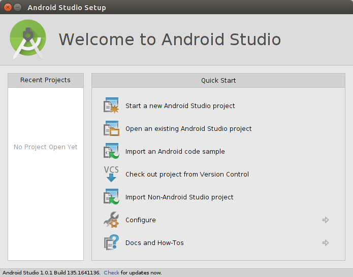 Creating a new Android Studio project