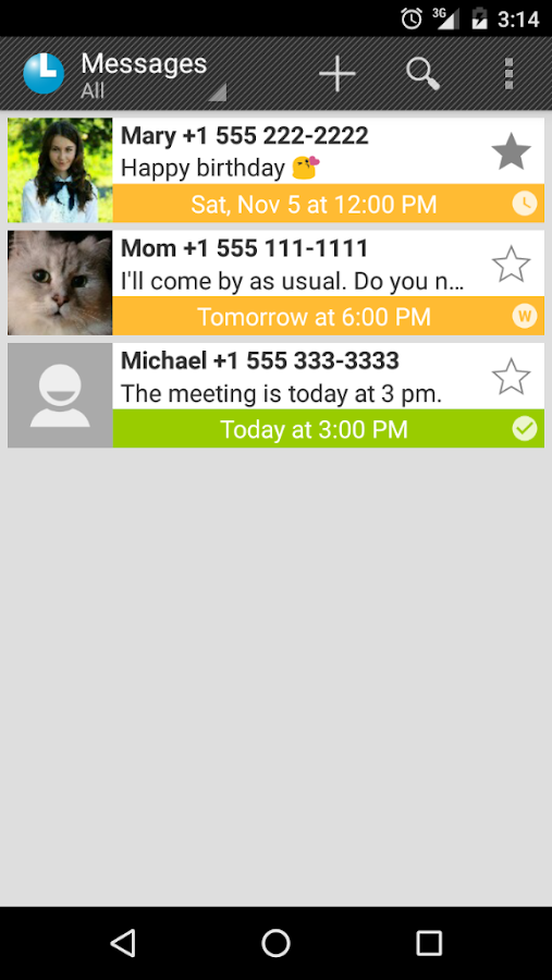 LATR (SMS scheduler)- screenshot