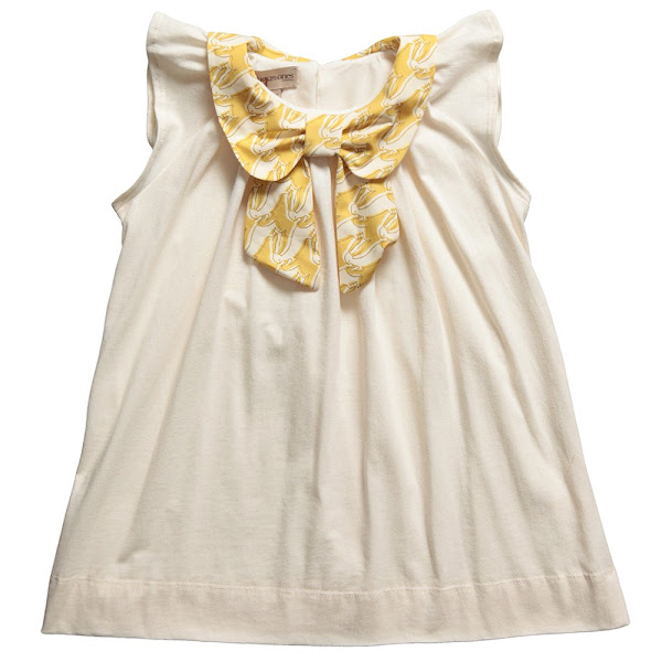Photo: Hucklebones London  Ivory Soft Cotton Jersey Top with Rabbit Print Bow Collar http://www.childrensalon.com/ivory-soft-jersey-tunic-dress-with-bow-collar.html  Price: £44.00 Size range: 2-10 year