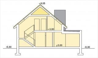 Alamo wersja B z pojedynczym garażem - Przekrój