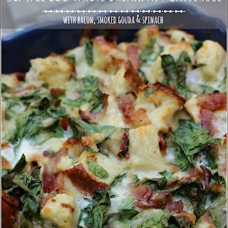 Simple Breakfast Casserole | egg whites, bacon, smoked Gouda and spinach
