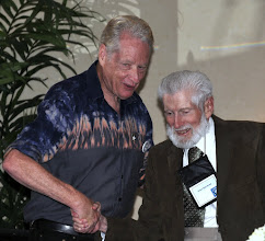 Photo: Gerry Condon with original Golden Rule crew member Orion Sherwood