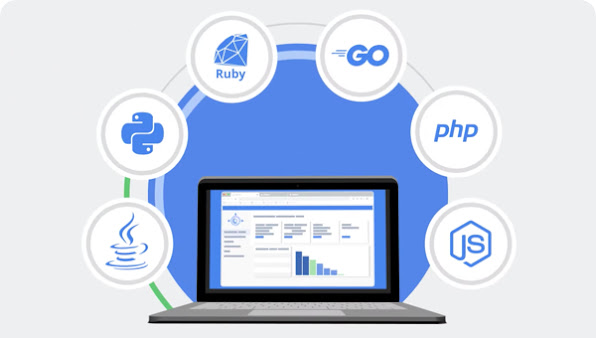 Computer monitor displaying graphed data encircled with 6 logos of programming tools: Java, Node.js, Go, Ruby, Python and PHP