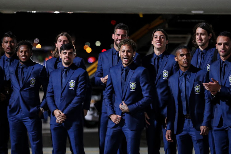 The Brazilian men's national soccer team arrive at Russia's Sochi International Airport for the 2018 FIFA World Cup.