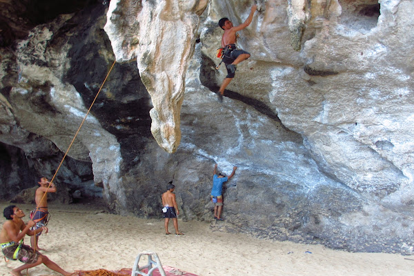 Climbing wall at Phra Nang Cave Beach with an overhang
