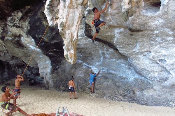 Climbing wall at Phra Nang Cave Beach with an overhang