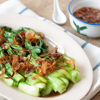 Oyster Sauce Vegetables with Fried Shallots.