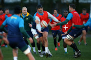 Eben Etzebeth during the South African national rugby team training session at WSC Treforest Grounds on November 19, 2018 in Cardiff, Wales.