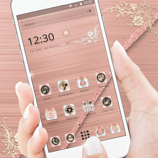 (FREE) Rose Gold Luxury Launcher Theme 1.1.1 screenshots 1