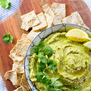 Creamy Hummus with Curry and Cilantro.