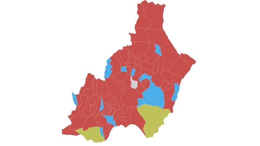 Mapa resultante de las elecciones de este 28A.