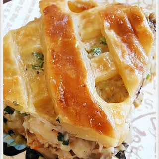 Seafood Pot Pie with Puff Pastry.