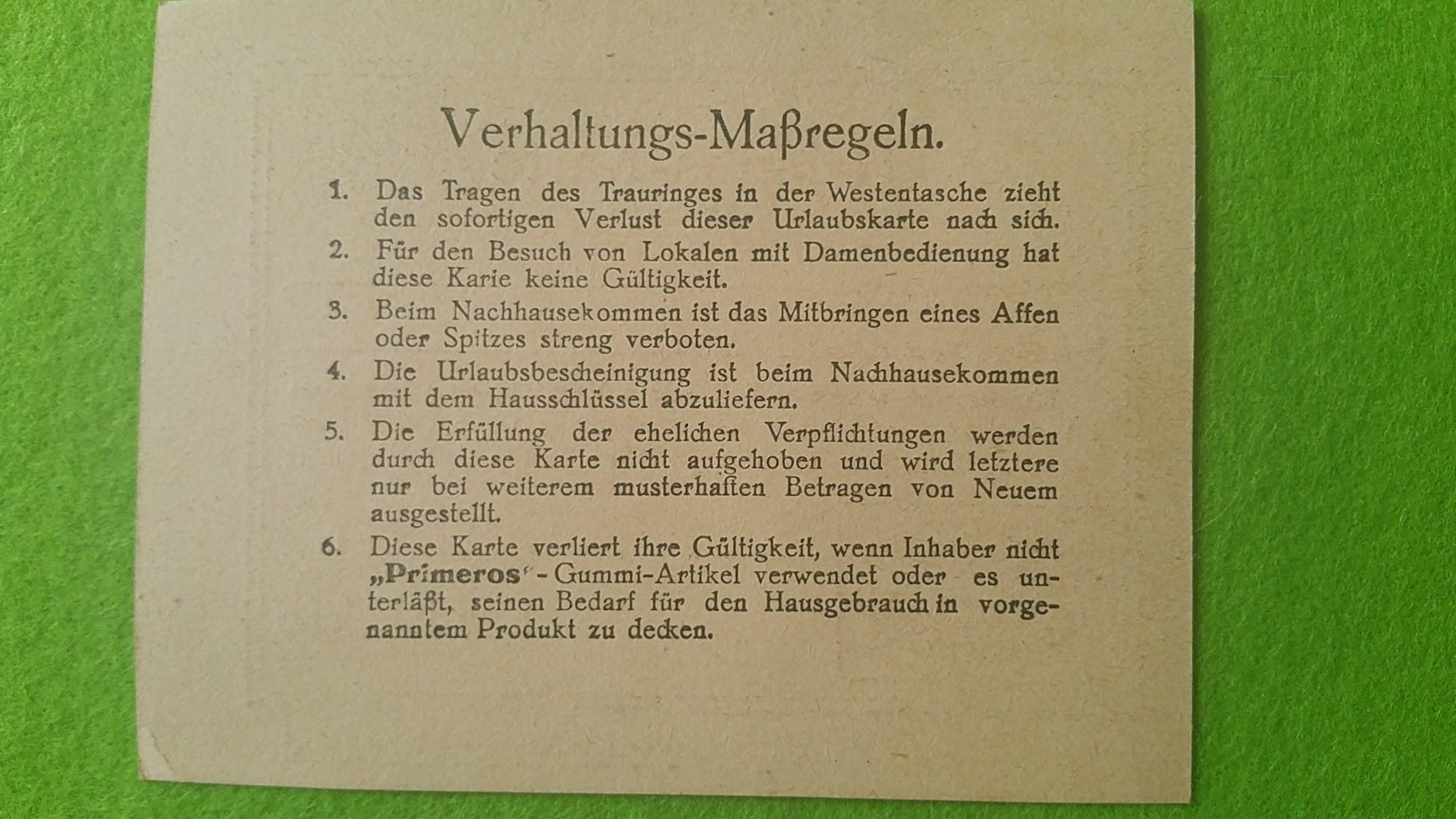 Primeros Kondomwerbung von 1941