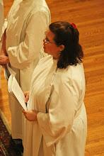 Photo: Rhetta Wiley listens to the bishop's challenge