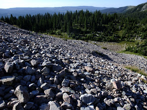 Photo: Crossing a talus slope on the way up to North Truchas Peak