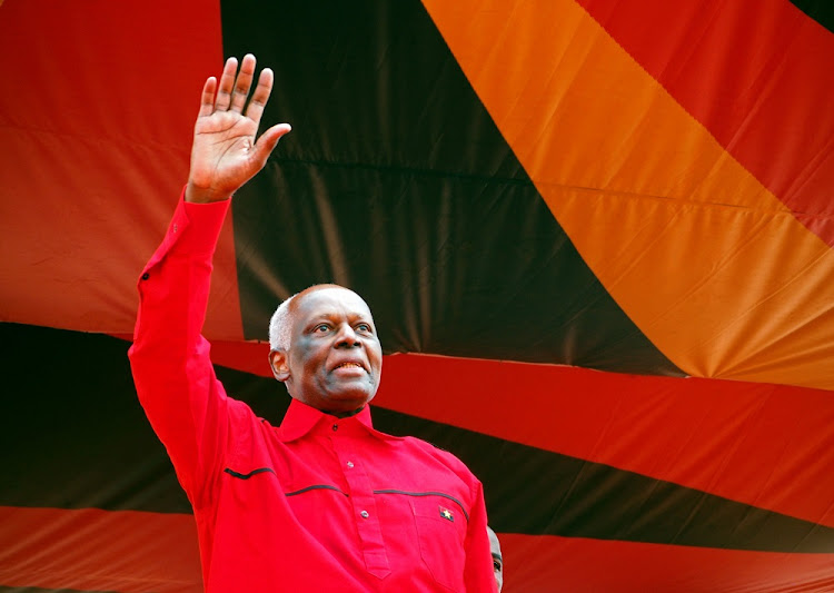 Outgoing Angolan President Jose Eduardo dos Santos greets crowds at the ruling MPLA party's final election rally in Luanda, Angola. Picture: REUTERS